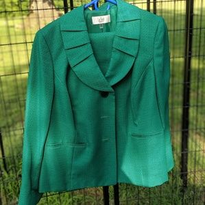 Emerald green skirt suit